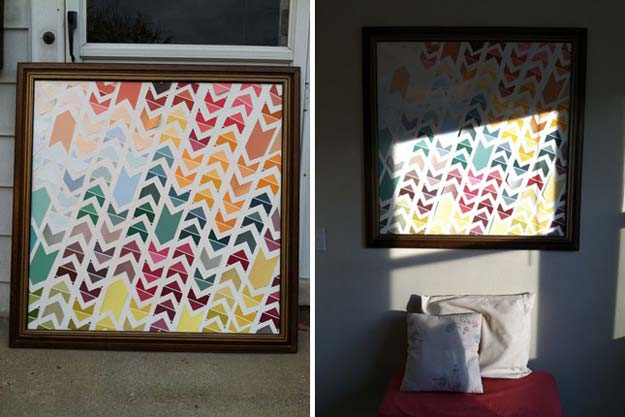 DIY Projects Made With Paint Chips - Chevron Art - Best Creative Crafts, Easy DYI Projects You Can Make With Paint Chips - Cool and Crafty How To and Project Tutorials - Crafty DIY Home Decor Ideas That Make Awesome DIY Gifts and Christmas Presents for Friends and Family