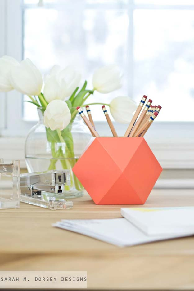 Fun DIY Ideas for Your Desk - DIY: Geometric Pencil Cups - Cubicles, Ideas for Teens and Student - Cheap Dollar Tree Storage and Decor for Offices and Home - Cool DIY Projects and Crafts for Teens