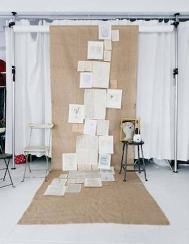 DIY Selfie Ideas - Book Pages Backdrop - Cool Ideas for Photo Booth and Picture Station - Props, Light, Mirror, Board, Wall, Background and Tips for Shooting Best Selfies - DIY Projects and Crafts for Teens