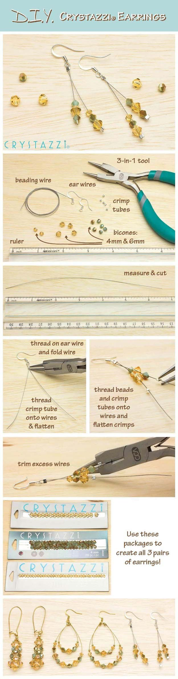Crafts to Make and Sell - DIY Crystazzi Earrings - Easy Step by Step Tutorials for Fun, Cool and Creative Ways for Teenagers to Make Money Selling Stuff - Room Decor, Accessories, Gifts and More http://diyprojectsforteens.com/diy-crafts-to-make-and-sell