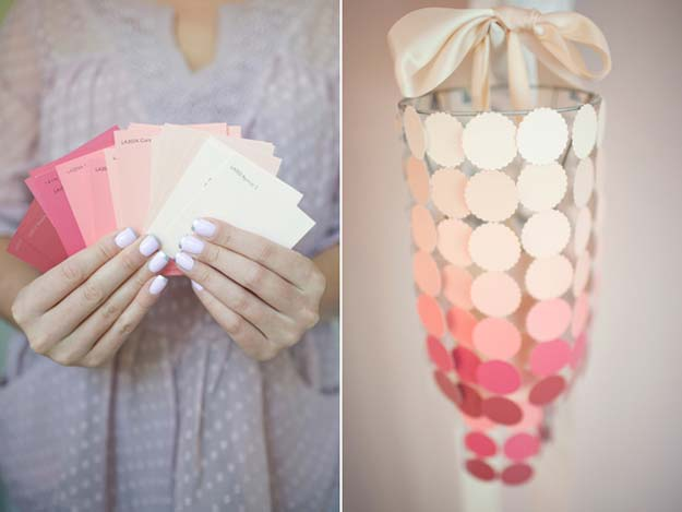 DIY Projects Made With Paint Chips - DIY Paint Swatch Chandelier - Best Creative Crafts, Easy DYI Projects You Can Make With Paint Chips - Cool and Crafty How To and Project Tutorials - Crafty DIY Home Decor Ideas That Make Awesome DIY Gifts and Christmas Presents for Friends and Family http://diyjoy.com/diy-projects-paint-chips