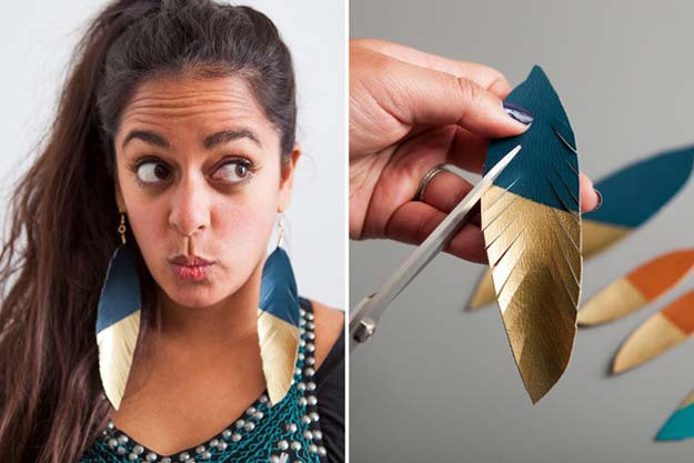 Gold DIY Projects and Crafts - Gold-Dipped Leather Feather Earrings - Easy Room Decor, Wall Art and Accesories in Gold - Spray Paint, Painted Ideas, Creative and Cheap Home Decor - Projects and Crafts for Teens, Apartments, Adults and Teenagers http://diyprojectsforteens.com/diy-projects-gold