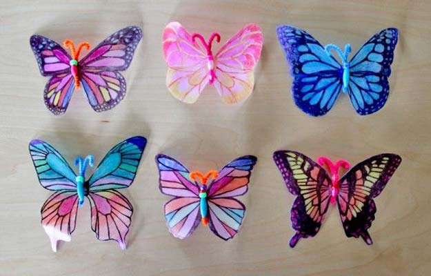 Sharpie Crafts For Teens, Kids and Adults - Cheap and easy upcycled milk cartons make pretty butterflies - DIY Projects and Ideas with Sharpies Using Markers on Fabric, Glass, Mugs, T- Shirts, Plates, Paper - Creative Arts and Crafts Ideas for Room Decor, Gifts and Fun Fashion