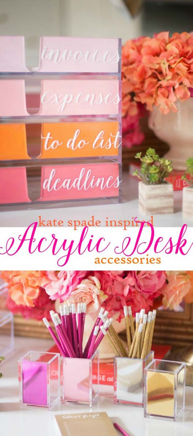 Fun DIY Ideas for Your Desk - DIY Kate Spade Inspired Acrylic Desk Organizer - Cubicles, Ideas for Teens and Student - Cheap Dollar Tree Storage and Decor for Offices and Home - Cool DIY Projects and Crafts for Teens
