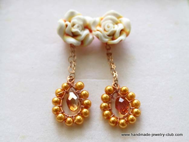 Crafts to Make and Sell - Rosy Dangling Earrings - Easy Step by Step Tutorials for Fun, Cool and Creative Ways for Teenagers to Make Money Selling Stuff - Room Decor, Accessories, Gifts and More http://diyprojectsforteens.com/diy-crafts-to-make-and-sell