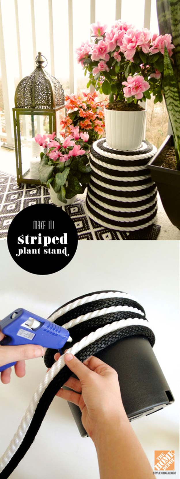 DIY Room Decor Ideas in Black and White - Stripe Plant Stand - Creative Home Decor and Room Accessories - Cheap and Easy Projects and Crafts for Wall Art, Bedding, Pillows, Rugs and Lighting - Fun Ideas and Projects for Teens, Apartments, Adutls and Teenagers
