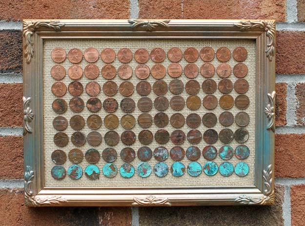 Cool DIYs Made With Pennies and Coins - DIY Penny Ombre Art - Penny Walls, Floors, DIY Penny Table. Art With Pennies, Walls and Furniture Make With Money and Coins. Cool, Creative Tutorials, Home Decor and DIY Projects Made With Old Pennies - Cool DIY Projects and Crafts for Teens http://diyprojectsforteens.com/diy-ideas-pennies