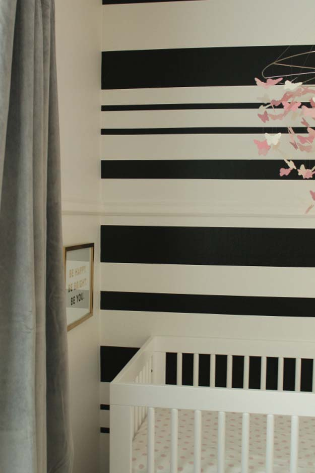 DIY Room Decor Ideas in Black and White - Black and White Stripe Wall - Creative Home Decor and Room Accessories - Cheap and Easy Projects and Crafts for Wall Art, Bedding, Pillows, Rugs and Lighting - Fun Ideas and Projects for Teens, Apartments, Adutls and Teenagers http://diyprojectsforteens.com/diy-decor-black-white