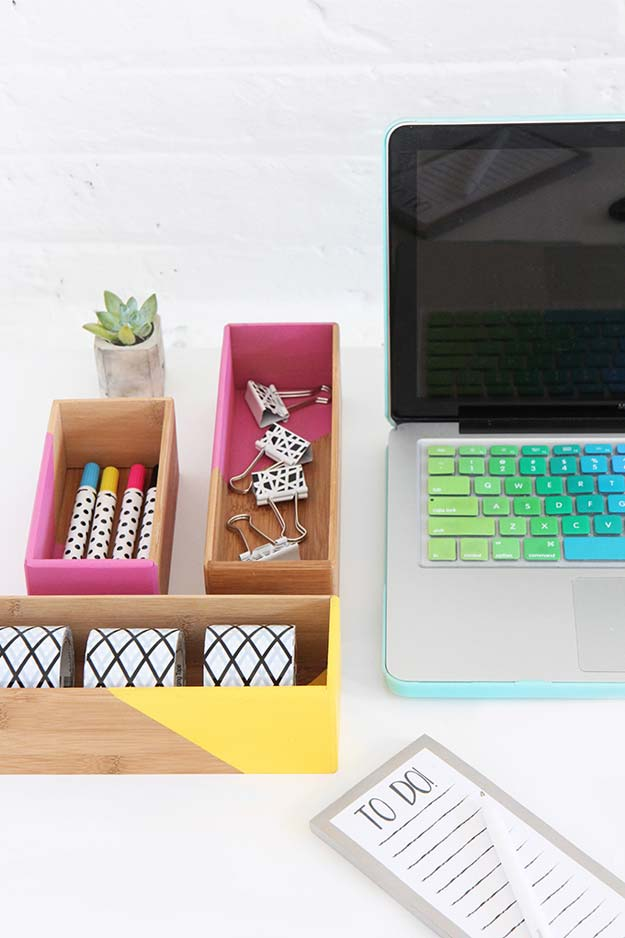 Fun DIY Ideas for Your Desk - Color Block Box Supplies Storage - Cubicles, Ideas for Teens and Student - Cheap Dollar Tree Storage and Decor for Offices and Home - Cool DIY Projects and Crafts for Teens http://diyprojectsforteens.com/diy-ideas-desk