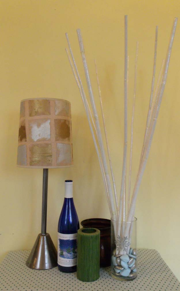 Gold DIY Projects and Crafts - Make a Wintery Bamboo Bouquet - Easy Room Decor, Wall Art and Accesories in Gold - Spray Paint, Painted Ideas, Creative and Cheap Home Decor - Projects and Crafts for Teens, Apartments, Adults and Teenagers