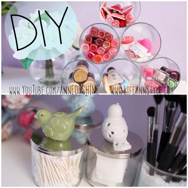 DIY Makeup Organizing Ideas - Simple Candle Jar Makeup Storage - Projects for Makeup Drawer, Box, Storage, Jars and Wall Displays - Cheap Dollar Tree Ideas with Cardboard and Shoebox - Wood Organizers, Tray and Travel Carriers http://diyprojectsforteens.com/diy-makeup-organizing