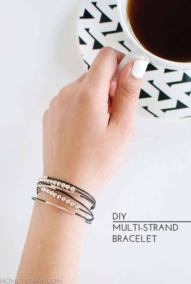 DIY Bracelets - DIY Multi-Stranded Bracelet - Cool Jewelry Making Tutorials for Making Bracelets at Home - Handmade Bracelet Crafts and Easy DIY Gift for Teens, Girls and Women - With String, Wire, Leather, Beaded, Bangle, Braided, Boho, Modern and Friendship - Cheap and Quick Homemade Jewelry Ideas
