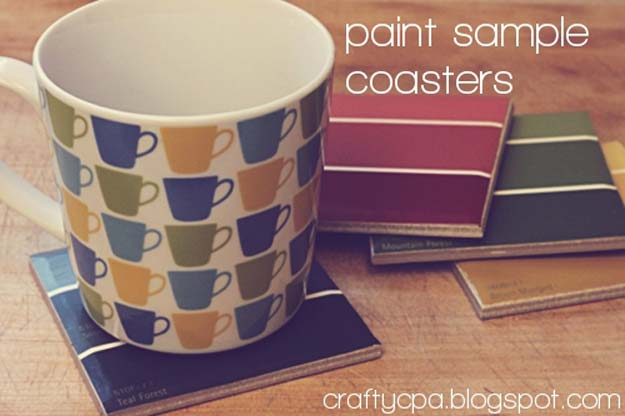 DIY Projects Made With Paint Chips - Paint Chip Coasters - Best Creative Crafts, Easy DYI Projects You Can Make With Paint Chips - Cool and Crafty How To and Project Tutorials - Crafty DIY Home Decor Ideas That Make Awesome DIY Gifts and Christmas Presents for Friends and Family