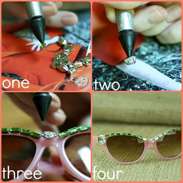 DIY Sunglasses Makeovers - DIY Embellished Retro Sunglasses - Fun Ways to Decorate and Embellish Sunglasses - Embroider, Paint, Add Jewels and Glitter to Your Shades - Cheap and Easy Projects and Crafts for Teens #diy #teencrafts #sunglasses
