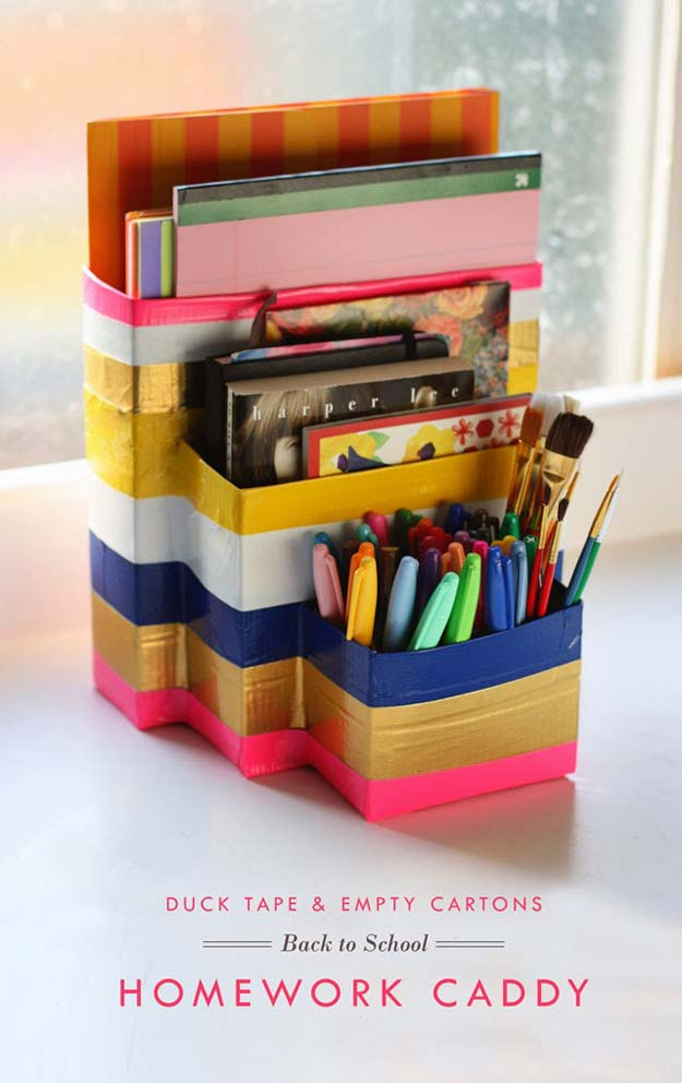Fun DIY Ideas for Your Desk - DIY Recycled Organizer - Cubicles, Ideas for Teens and Student - Cheap Dollar Tree Storage and Decor for Offices and Home - Cool DIY Projects and Crafts for Teens http://diyprojectsforteens.com/diy-ideas-desk