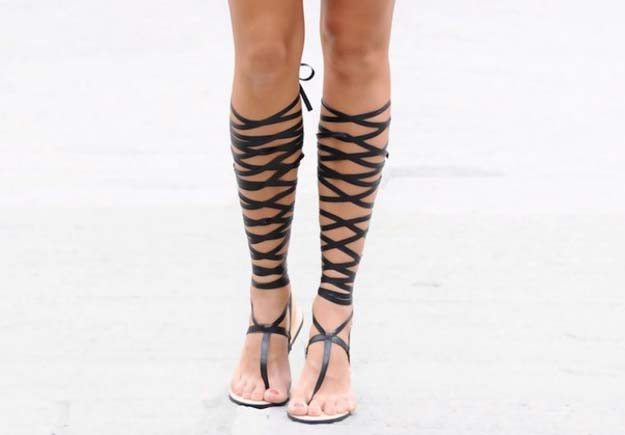 DIY Sandals and Flip Flops - DIY Wrapped Gladiator Sandals - Creative, Cool and Easy Ways to Make or Update Your Shoes - Decorate Flip Flops with Cheap Dollar Store Crafts and Ideas - Beaded, Leather, Strappy and Painted Sandal Projects - Fun DIY Projects and Crafts for Teens and Teenagers http://diyprojectsforteens.com/diy-sandals