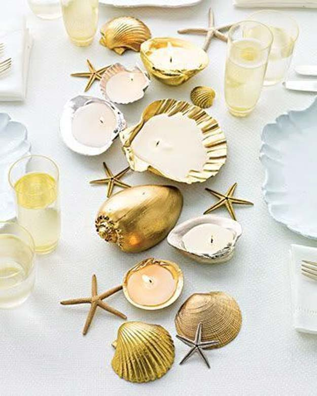 Gold DIY Projects and Crafts - Metallic Shell Candleholder Centerpiece - Easy Room Decor, Wall Art and Accesories in Gold - Spray Paint, Painted Ideas, Creative and Cheap Home Decor - Projects and Crafts for Teens, Apartments, Adults and Teenagers http://diyprojectsforteens.com/diy-projects-gold