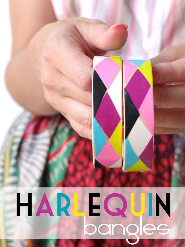 DIY Bracelets - DIY Harlequin Bangles - Cool Jewelry Making Tutorials for Making Bracelets at Home - Handmade Bracelet Crafts and Easy DIY Gift for Teens, Girls and Women - With String, Wire, Leather, Beaded, Bangle, Braided, Boho, Modern and Friendship - Cheap and Quick Homemade Jewelry Ideas