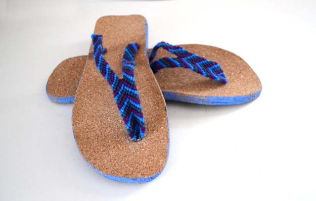 DIY Sandals and Flip Flops - Friendship Bracelet Straps Sandals - Creative, Cool and Easy Ways to Make or Update Your Shoes - Decorate Flip Flops with Cheap Dollar Store Crafts and Ideas - Beaded, Leather, Strappy and Painted Sandal Projects - Fun DIY Projects and Crafts for Teens and Teenagers http://diyprojectsforteens.com/diy-sandals