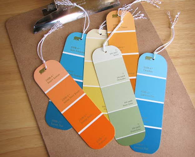 DIY Projects Made With Paint Chips - Paint Chip Bookmarks - Best Creative Crafts, Easy DYI Projects You Can Make With Paint Chips - Cool and Crafty How To and Project Tutorials - Crafty DIY Home Decor Ideas That Make Awesome DIY Gifts and Christmas Presents for Friends and Family http://diyjoy.com/diy-projects-paint-chips