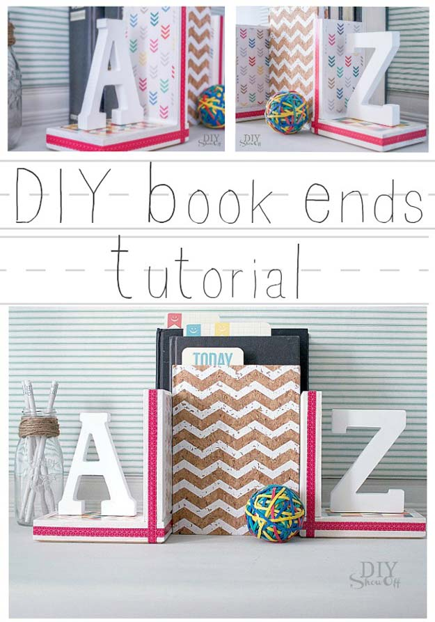 Fun DIY Ideas for Your Desk - DIY Book Ends - Cubicles, Ideas for Teens and Student - Cheap Dollar Tree Storage and Decor for Offices and Home - Cool DIY Projects and Crafts for Teens
