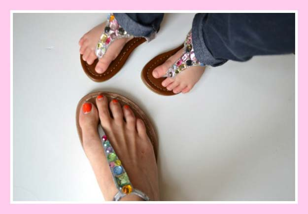 DIY Sandals and Flip Flops - DIY Jeweled Sandals - Creative, Cool and Easy Ways to Make or Update Your Shoes - Decorate Flip Flops with Cheap Dollar Store Crafts and Ideas - Beaded, Leather, Strappy and Painted Sandal Projects - Fun DIY Projects and Crafts for Teens and Teenagers http://diyprojectsforteens.com/diy-sandals