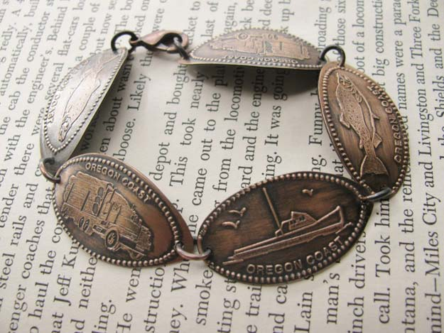 Cool DIYs Made With Pennies and Coins - Souvenir Penny Bracelet - Penny Walls, Floors, DIY Penny Table. Art With Pennies, Walls and Furniture Make With Money and Coins. Cool, Creative Tutorials, Home Decor and DIY Projects Made With Old Pennies - Cool DIY Projects and Crafts for Teens