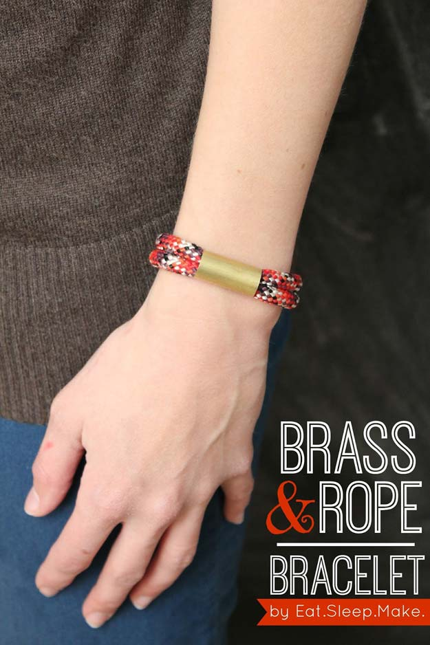 DIY Bracelets - Brass & Rope Bracelet - Cool Jewelry Making Tutorials for Making Bracelets at Home - Handmade Bracelet Crafts and Easy DIY Gift for Teens, Girls and Women - With String, Wire, Leather, Beaded, Bangle, Braided, Boho, Modern and Friendship - Cheap and Quick Homemade Jewelry Ideas