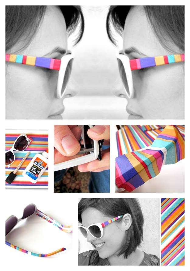 DIY Sunglasses Makeovers - DIY Stripe Shades - Fun Ways to Decorate and Embellish Sunglasses - Embroider, Paint, Add Jewels and Glitter to Your Shades - Cheap and Easy Projects and Crafts for Teens http://diyprojectsforteens.com/diy-sunglasses-makeovers