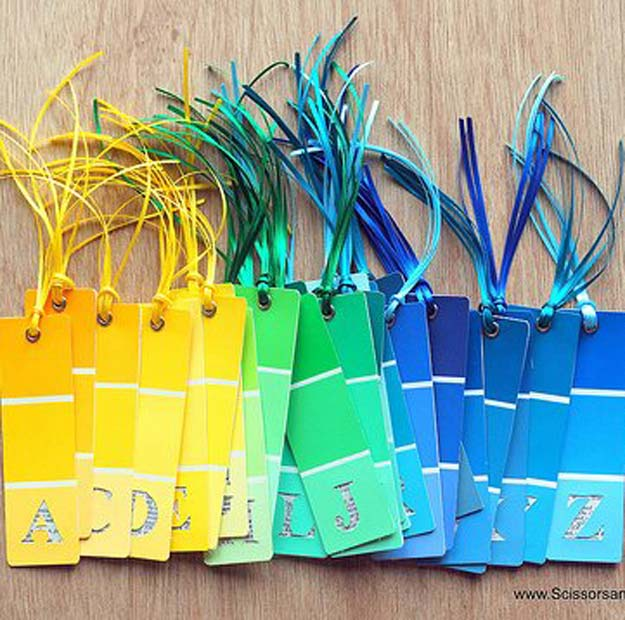 DIY Projects Made With Paint Chips - DIY Alphabet Bookmarks - Best Creative Crafts, Easy DYI Projects You Can Make With Paint Chips - Cool and Crafty How To and Project Tutorials - Crafty DIY Home Decor Ideas That Make Awesome DIY Gifts and Christmas Presents for Friends and Family