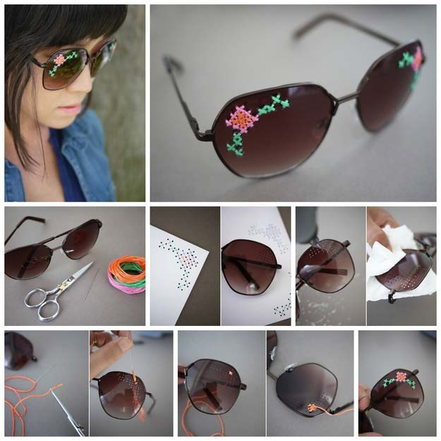 DIY Sunglasses Makeovers - DIY Embroidered Sunglasses - Fun Ways to Decorate and Embellish Sunglasses - Embroider, Paint, Add Jewels and Glitter to Your Shades - Cheap and Easy Projects and Crafts for Teens http://diyprojectsforteens.com/diy-sunglasses-makeovers
