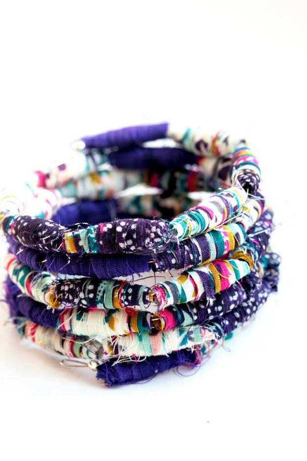 DIY Bracelets - DIY Fabric Bead Bracelet - Cool Jewelry Making Tutorials for Making Bracelets at Home - Handmade Bracelet Crafts and Easy DIY Gift for Teens, Girls and Women - With String, Wire, Leather, Beaded, Bangle, Braided, Boho, Modern and Friendship - Cheap and Quick Homemade Jewelry Ideas