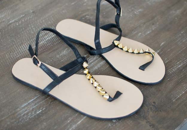 DIY Sandals and Flip Flops - DIY Studded Sandals - Creative, Cool and Easy Ways to Make or Update Your Shoes - Decorate Flip Flops with Cheap Dollar Store Crafts and Ideas - Beaded, Leather, Strappy and Painted Sandal Projects - Fun DIY Projects and Crafts for Teens and Teenagers http://diyprojectsforteens.com/diy-sandals