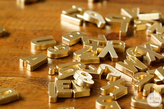 Gold DIY Projects and Crafts - Gold Magnetic Letters - Easy Room Decor, Wall Art and Accesories in Gold - Spray Paint, Painted Ideas, Creative and Cheap Home Decor - Projects and Crafts for Teens, Apartments, Adults and Teenagers http://diyprojectsforteens.com/diy-projects-gold