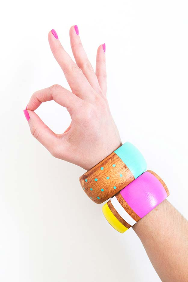 DIY Bracelets - DIY Painted Wood Bangle Bracelets - Cool Jewelry Making Tutorials for Making Bracelets at Home - Handmade Bracelet Crafts and Easy DIY Gift for Teens, Girls and Women - With String, Wire, Leather, Beaded, Bangle, Braided, Boho, Modern and Friendship - Cheap and Quick Homemade Jewelry Ideas