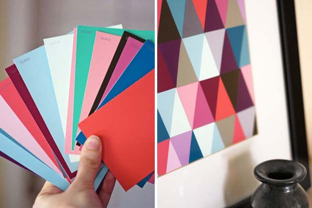 DIY Projects Made With Paint Chips - Geometric Wall Art - Best Creative Crafts, Easy DYI Projects You Can Make With Paint Chips - Cool and Crafty How To and Project Tutorials - Crafty DIY Home Decor Ideas That Make Awesome DIY Gifts and Christmas Presents for Friends and Family