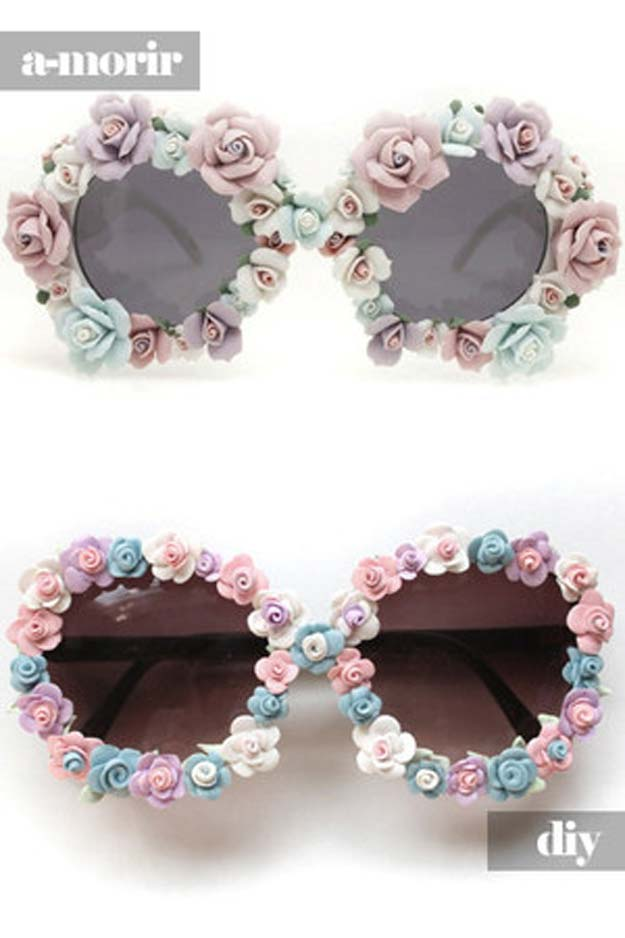 DIY Sunglasses Makeovers - DIY Floral Sunglasses - Fun Ways to Decorate and Embellish Sunglasses - Embroider, Paint, Add Jewels and Glitter to Your Shades - Cheap and Easy Projects and Crafts for Teens http://diyprojectsforteens.com/diy-sunglasses-makeovers