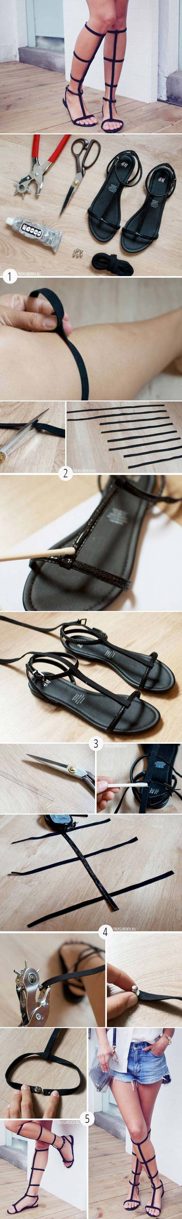 DIY Sandals and Flip Flops - DIY Nice Old Sandal Transformation - Creative, Cool and Easy Ways to Make or Update Your Shoes - Decorate Flip Flops with Cheap Dollar Store Crafts and Ideas - Beaded, Leather, Strappy and Painted Sandal Projects - Fun DIY Projects and Crafts for Teens and Teenagers http://diyprojectsforteens.com/diy-sandals