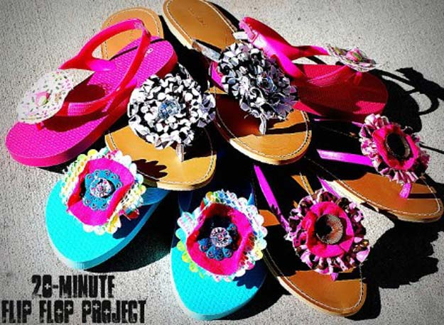 DIY Sandals and Flip Flops - 20 Minute Flip-Flops - Creative, Cool and Easy Ways to Make or Update Your Shoes - Decorate Flip Flops with Cheap Dollar Store Crafts and Ideas - Beaded, Leather, Strappy and Painted Sandal Projects - Fun DIY Projects and Crafts for Teens and Teenagers http://diyprojectsforteens.com/diy-sandals