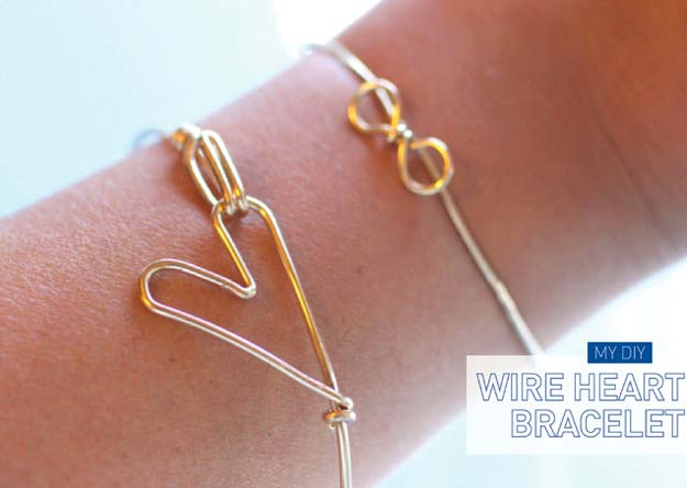 DIY Bracelets - DIY Heart Bracelet - Cool Jewelry Making Tutorials for Making Bracelets at Home - Handmade Bracelet Crafts and Easy DIY Gift for Teens, Girls and Women - With String, Wire, Leather, Beaded, Bangle, Braided, Boho, Modern and Friendship - Cheap and Quick Homemade Jewelry Ideas