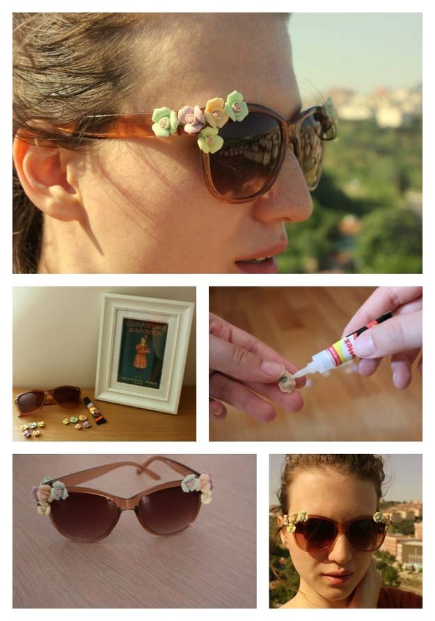 DIY Sunglasses Makeovers - Dolce & Gabbana Inspired Floral Sunglasses - Fun Ways to Decorate and Embellish Sunglasses - Embroider, Paint, Add Jewels and Glitter to Your Shades - Cheap and Easy Projects and Crafts for Teens http://diyprojectsforteens.com/diy-sunglasses-makeovers