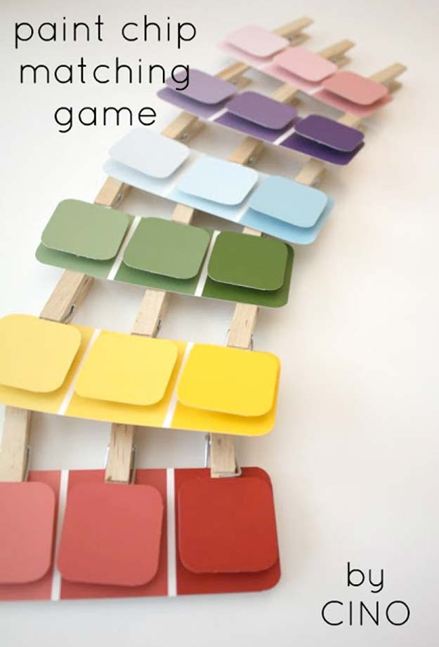 DIY Projects Made With Paint Chips - Paint Chip Matching Game - Best Creative Crafts, Easy DYI Projects You Can Make With Paint Chips - Cool and Crafty How To and Project Tutorials - Crafty DIY Home Decor Ideas That Make Awesome DIY Gifts and Christmas Presents for Friends and Family