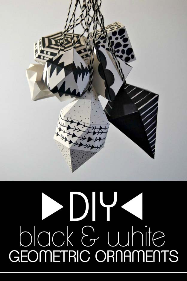 DIY Room Decor Ideas in Black and White - DIY Black and White Geometric Ornaments - Creative Home Decor and Room Accessories - Cheap and Easy Projects and Crafts for Wall Art, Bedding, Pillows, Rugs and Lighting - Fun Ideas and Projects for Teens, Apartments, Adutls and Teenagers http://diyprojectsforteens.com/diy-decor-black-white