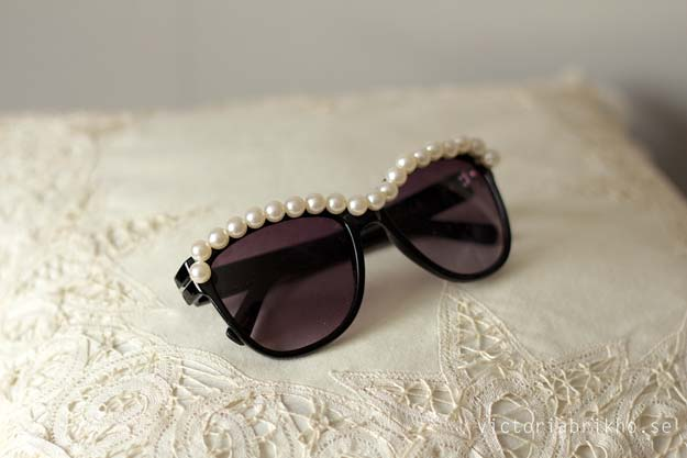 DIY Sunglasses Makeovers - DIY Pearl Sunglasses - Fun Ways to Decorate and Embellish Sunglasses - Embroider, Paint, Add Jewels and Glitter to Your Shades - Cheap and Easy Projects and Crafts for Teens #diy #teencrafts #sunglasses