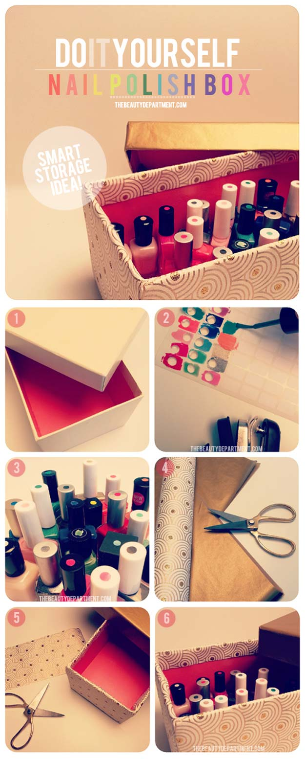DIY Makeup Organizing Ideas   Nail Polish Storage Idea   Projects For Makeup  Drawer, Box