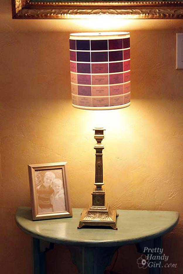 DIY Projects Made With Paint Chips - Paint Chip Lamp Shade - Best Creative Crafts, Easy DYI Projects You Can Make With Paint Chips - Cool and Crafty How To and Project Tutorials - Crafty DIY Home Decor Ideas That Make Awesome DIY Gifts and Christmas Presents for Friends and Family http://diyjoy.com/diy-projects-paint-chips