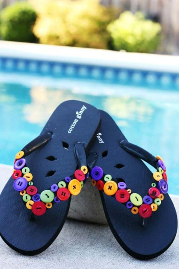 DIY Sandals and Flip Flops - Buttoned Down Flip-Flops - Creative, Cool and Easy Ways to Make or Update Your Shoes - Decorate Flip Flops with Cheap Dollar Store Crafts and Ideas - Beaded, Leather, Strappy and Painted Sandal Projects - Fun DIY Projects and Crafts for Teens and Teenagers http://diyprojectsforteens.com/diy-sandals