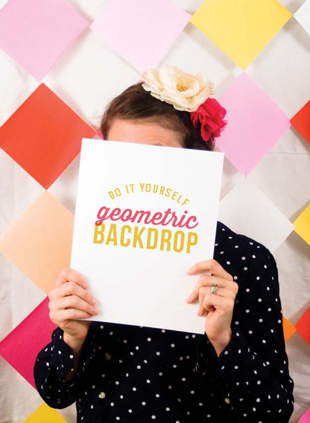 DIY Selfie Ideas - DIY Geometric Backdrop - Cool Ideas for Photo Booth and Picture Station - Props, Light, Mirror, Board, Wall, Background and Tips for Shooting Best Selfies - DIY Projects and Crafts for Teens