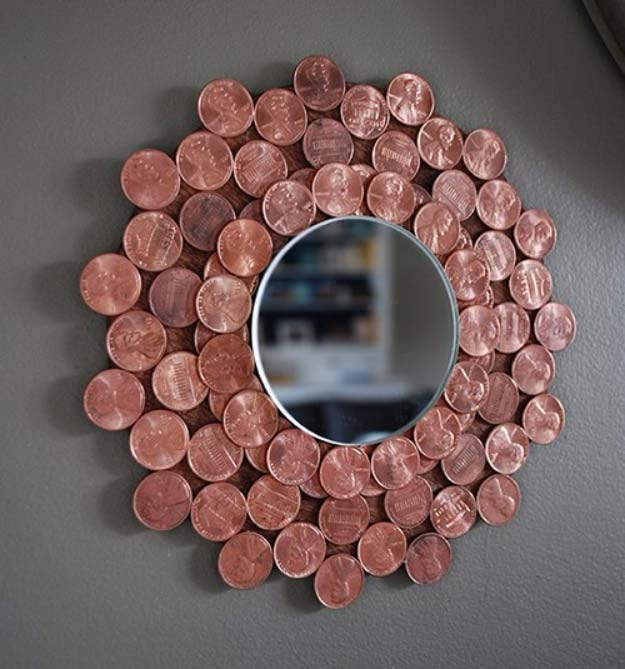Cool DIYs Made With Pennies and Coins - Penny Starburst Mirror - Penny Walls, Floors, DIY Penny Table. Art With Pennies, Walls and Furniture Make With Money and Coins. Cool, Creative Tutorials, Home Decor and DIY Projects Made With Old Pennies - Cool DIY Projects and Crafts for Teens
