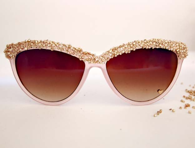 DIY Sunglasses Makeovers - DIY: Embellished Sunglasses - Fun Ways to Decorate and Embellish Sunglasses - Embroider, Paint, Add Jewels and Glitter to Your Shades - Cheap and Easy Projects and Crafts for Teens #diy #teencrafts #sunglasses